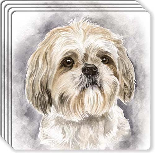 Canine Designs Shih Tzu Rubber Coasters Set of 4 (Non Skid Rubber Coaster)