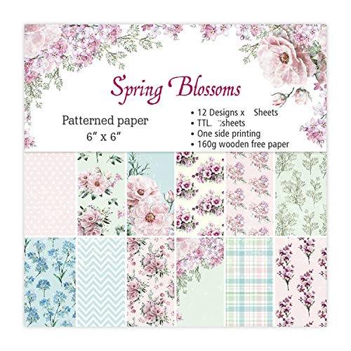 12 Sheets Spring Blossoms Scrapbooking Pads Paper Origami Art Background Paper Card Making DIY Scrapbook Paper -
