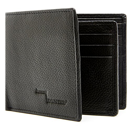 Genuine Leather Wallet Mens Bifold 10 Card Slots With ID Window RFID Blocking (Leather Black Wallet)