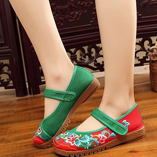 Avacostume Damesschoenen Borduurwerk Contrastkleur Plateaus Velcro Oxford Schoenen Rood