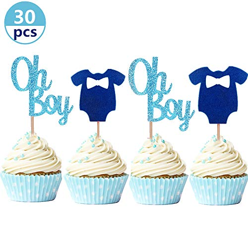 (JeVenis Set of 30 Glittery Oh Boy Cupcake Toppers Blue Baby Jumpsuits Baby Shower Cupcake Toppers for Boy Birthday Party Decors Baby Shower)