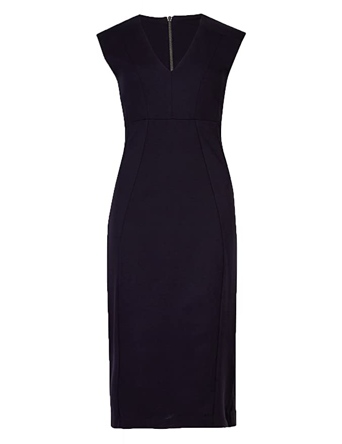 f444f2cd781 Marks and Spencer Ladies V Neck Sleeveless Bodycon Work Formal MIDI Dress  M&S: Amazon.co.uk: Clothing