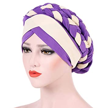 Womens Braid Turban Headwear For Cancer Stretch Long Hair Scarf Turban Headband Tie (Purple)