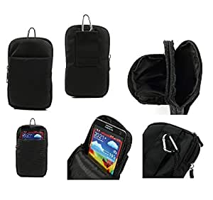 DFV mobile® - Funda Multiusos con Varios Compartimentos para Cinturon y Mosqueton para => Vivo X6Plus D > NEGRA XL (16 X 10.5 cm)