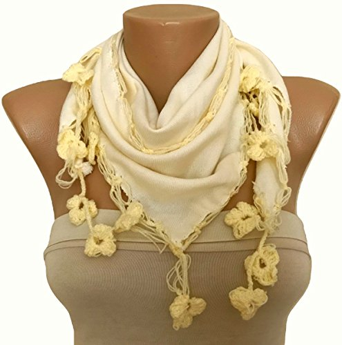 Hand Crocheted Scarf (Cream Fabric Scarf with Hand Crocheted Flowers Edge)