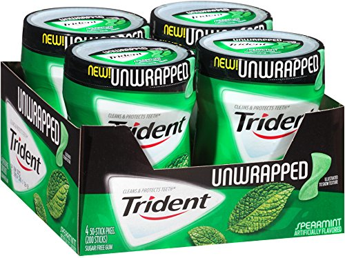 Trident Unwrapped Sugar Free Gum (Spearmint, 50-Piece, 4-Pack)
