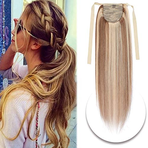 Human Hair Ponytail Extensions Drawstring Tie Up Pony Tails One Piece Straight 20 Inch Wrap Around Ponytail Hairpiece #12/613 Golden Brown Mix Bleach Blonde