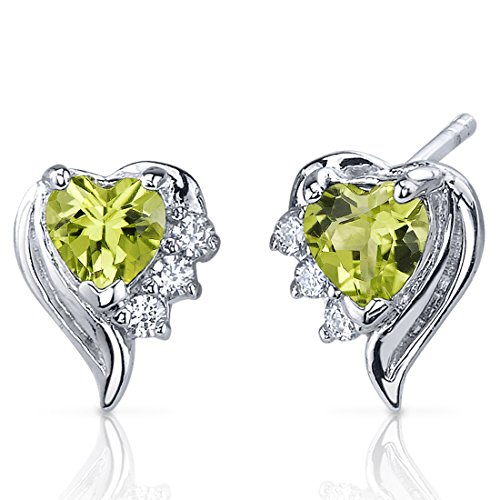Sterling Earrings Shape Heart Silver (Cupids Grace 1.00 Carats Peridot Heart Shape Earrings Sterling Silver)