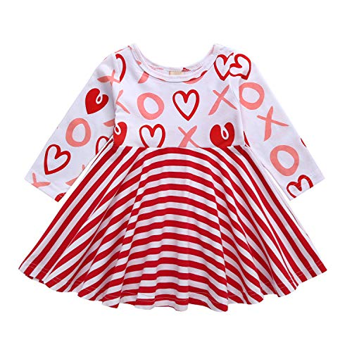 Letiane Toddler Baby Girls Valentine's Day Dress Stripe Heart Print Princess Dress Sundress Outfits (Red, 110/2-3Y) …