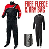 Crewsaver Cirrus Drysuit Including UnderFleece & Dry Bag in Black/RED 6515 Sizes- - ExtraLarge