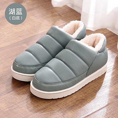 Fankou autunno e inverno pantofole di cotone borsa con il giovane home impermeabile anti-skid spessa caldo uomini e donne pantofole inverno, 35-36 adatto 34-35, bianco blu