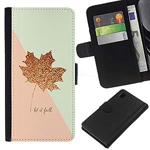 KingStore / Leather Etui en cuir / Sony Xperia Z1 L39 / Hoja de Otoño Canadá Oro Rosa Otoño;