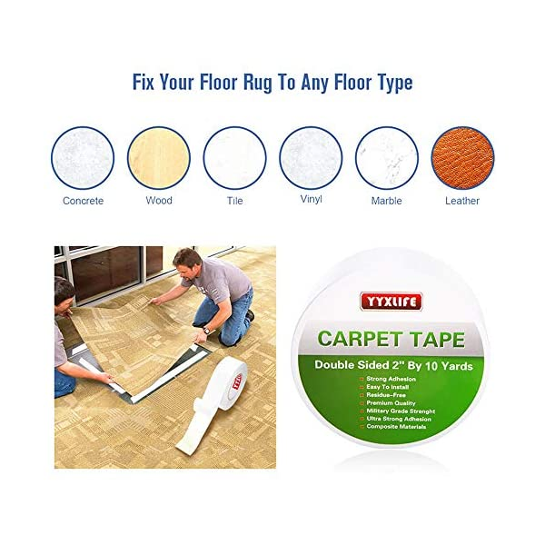 YYXLIFE-Double-Sided-Carpet-Tape-for-Area-Rugs-Carpet-Adhesive-Rug-Gripper-Removable-Multi-Purpose-Rug-Tape-Cloth-for-Hardwood-FloorsOutdoor-RugsCarpetsHeavy-Duty-Sticky-Tape2Inch-x-10-YardsWhite