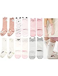 Unisex Baby Girls Socks, YJWAN 6 Pairs Toddler Anti Skid With Grips Knee High Socks
