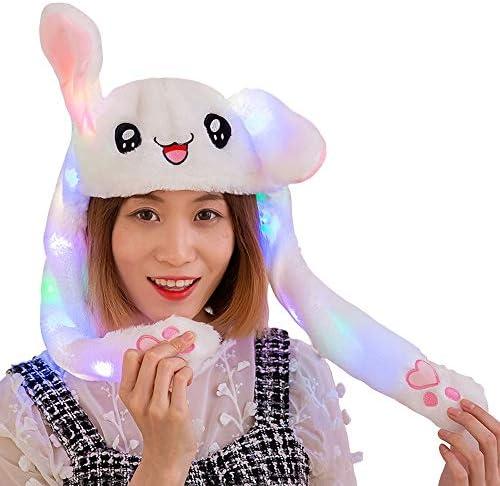 LEDタイプ ウサギの耳が動く帽子 光る ウサギの帽子 LED付き TIK TOK人気 白うさぎ帽子 うさ耳ダンス コスプレ 仮