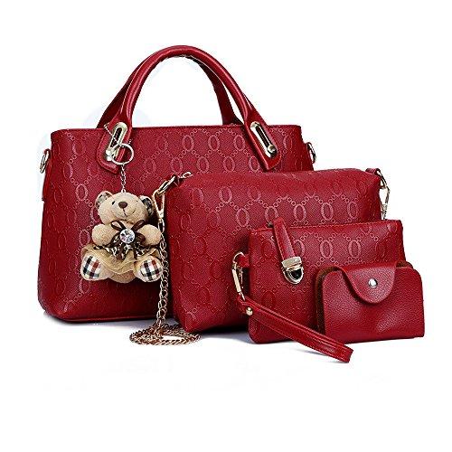Borse a spalla le donne borsa top gestire la borsa Borse a mano tote bag Borse a mano Borse set 4 pezzo fissato sacchi red