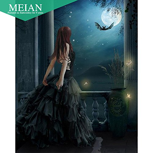 Meian Gothic Girl 5D Diamond Painting Embroidery Needlework Crafts Christmas Gift