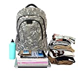 "Apacs Classic Woodland Camo Waterproof Backpack For Outdoor Hiking Camping Trekking, Fashion Casual School & Sport Daypack, Laptop Compartment Fits 17.3"" Laptop"