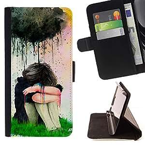 Momo Phone Case / Flip Funda de Cuero Case Cover - Pintura de la acuarela de la muchacha triste - Samsung Galaxy Core Prime
