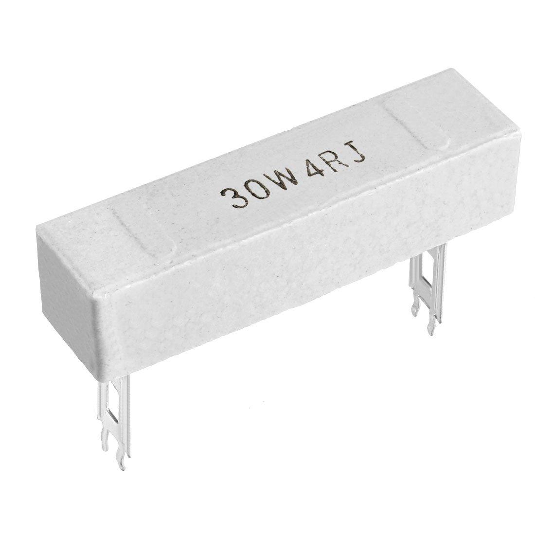 Sourcingmap 30/W 4/Ohm Puissance r/ésistance en c/éramique Ciment r/ésistance axial plomb Blanc 2/pcs