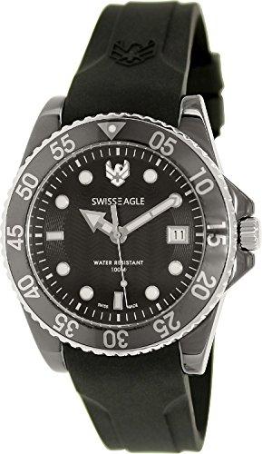 Swiss Eagle SE-9052-33 Mens Glacier Black Silicone Strap Watch