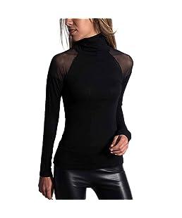 Holywin Chemise Casual Femme Couleur Unie Maille à Manches Longues T-Shirt à col Montant Haut Chemisier