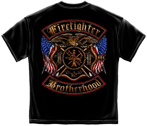Erazor Bits Firefighter T-Shirt Double Flagged Brotherhoo...