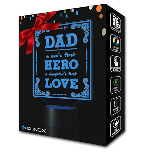 Dad A Son's First Hero, Dad lamp, Father's day gift idea, Decoration lamp, 7 Color Mode, Awesome gifts (MT217) by Holinox (Image #1)