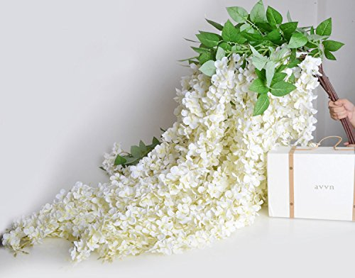 Colorfulife 10pcs 164cm Long Artificial Silk Wisteria Flower Vine Cane Floral Rattan Hang Garland Plant Wedding Party Centerpieces Ornament Room Window Balcony Home Garden Decoration (White)