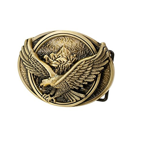 Pancy Belt Buckle Flying Soaring Eagle Over Mountains Country Oval Belt Buckle