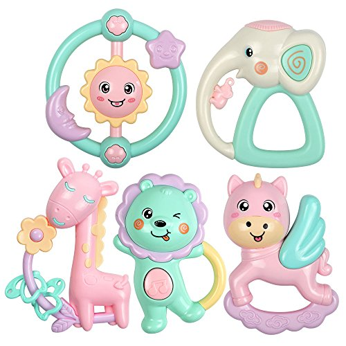 oys elephant lion giraffe horse sunflower baby rattle set hand bell for infant Toddler 0 to 12 Month newborn, candy color (Horse Infant Rattle)