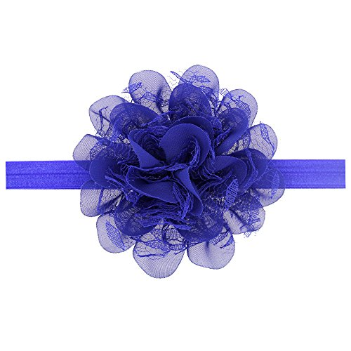 Floral Fall Baby Girls Cute Elastic Chiffon Lace flower Headbands Hair Bands BY-36 (Royal Blue)