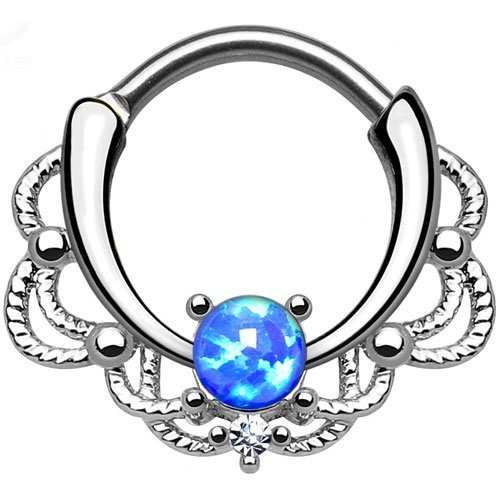 Single Opal Lacey Septum Clicker 316L Surgical Steel