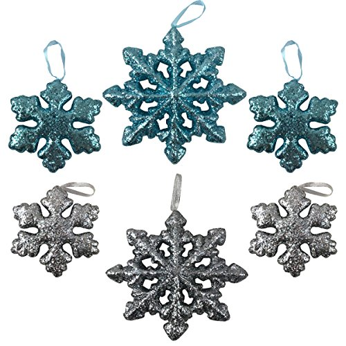 Glittler Snowflake Christmas Ornament Styrofoam Decoration in Blue and Silver - Set of (6) for $<!--$15.95-->