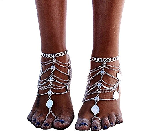 JDXN Coin Blessing Symbol Tassel Anklets Foot for Women Chain Tassel Bohemian Jewelry ()