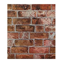 York Wallcoverings HE1046 Modern Rustic Brick Wallpaper, Copper Red/Black/Brown/Cement Gray