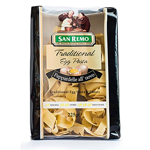San Remo,Traditional Egg Pasta, Pappardelle All' Uovo, Ribbons, 225 g (Pack of 1 bag) / Beststore by KK