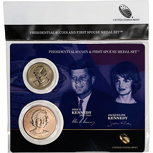 - 2015 Presidential $1 Coin & First Spouse Medal Set - John F. Kennedy John Kennedy $1 Coin Bronze Medal - Jacqueline Kennedy Uncirculated