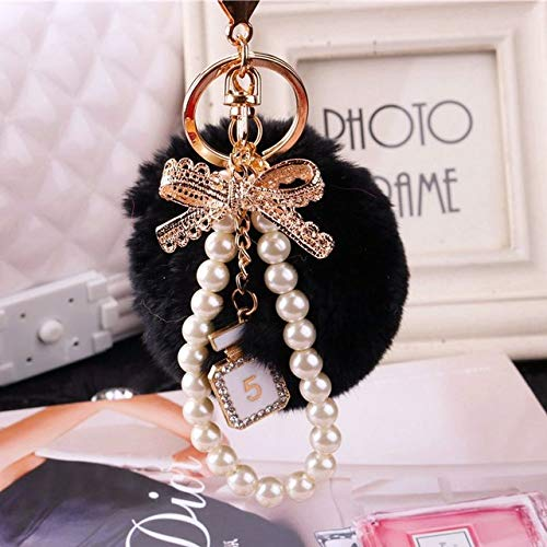 - Rarido Rabbit Hare Pompom Bunny Keychain for Womens Bag Pearl Charms Car Pendant Keychain Pearls Famous Luxury Brand chan Designers - (Color: Balck)