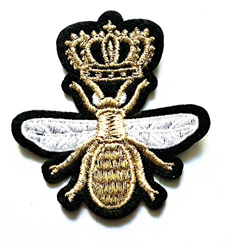 Embroidered Bumble Bee (Nipitshop Patches Golden Crown BEE Insect Bugs Cute Kids Bumble Bee Shape Iron On Embroidered Applique Patch for Clothes Backpacks T-Shirt Jeans Skirt Vests Scarf Hat Bag)