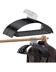 PJJXMY Clothes Hanger Rubber Coated Contour Metal No Bumps Hanger, Suit Hanger,Coat Jacket Hangers,Sweater Hanger, Ultra Thin Space Saving Heavy Duty Hook Durable T-Shirt Hanger (Black, 10)