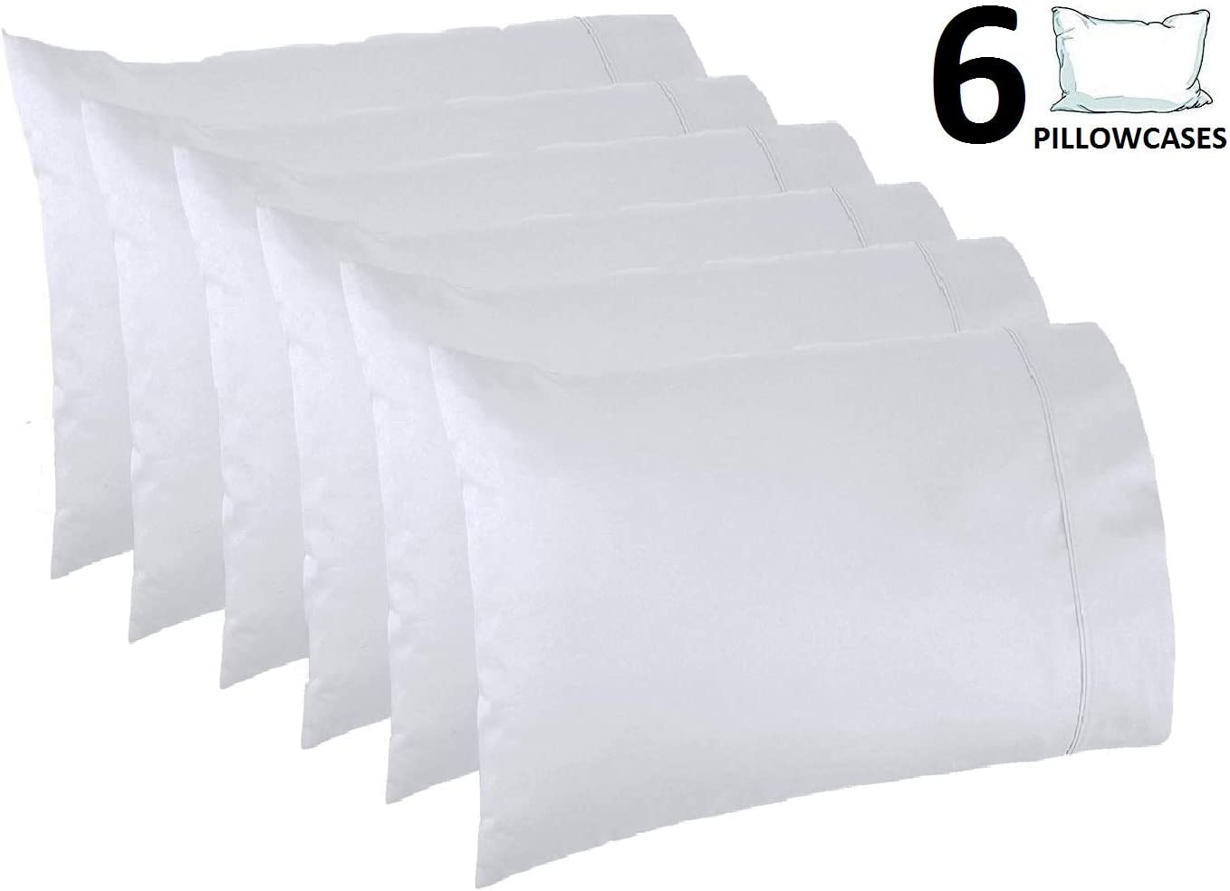Lasimonne White Pillowcases,Pack of 6, Standard Size, 200 Thread Count Percale, CVC Pillow Cover