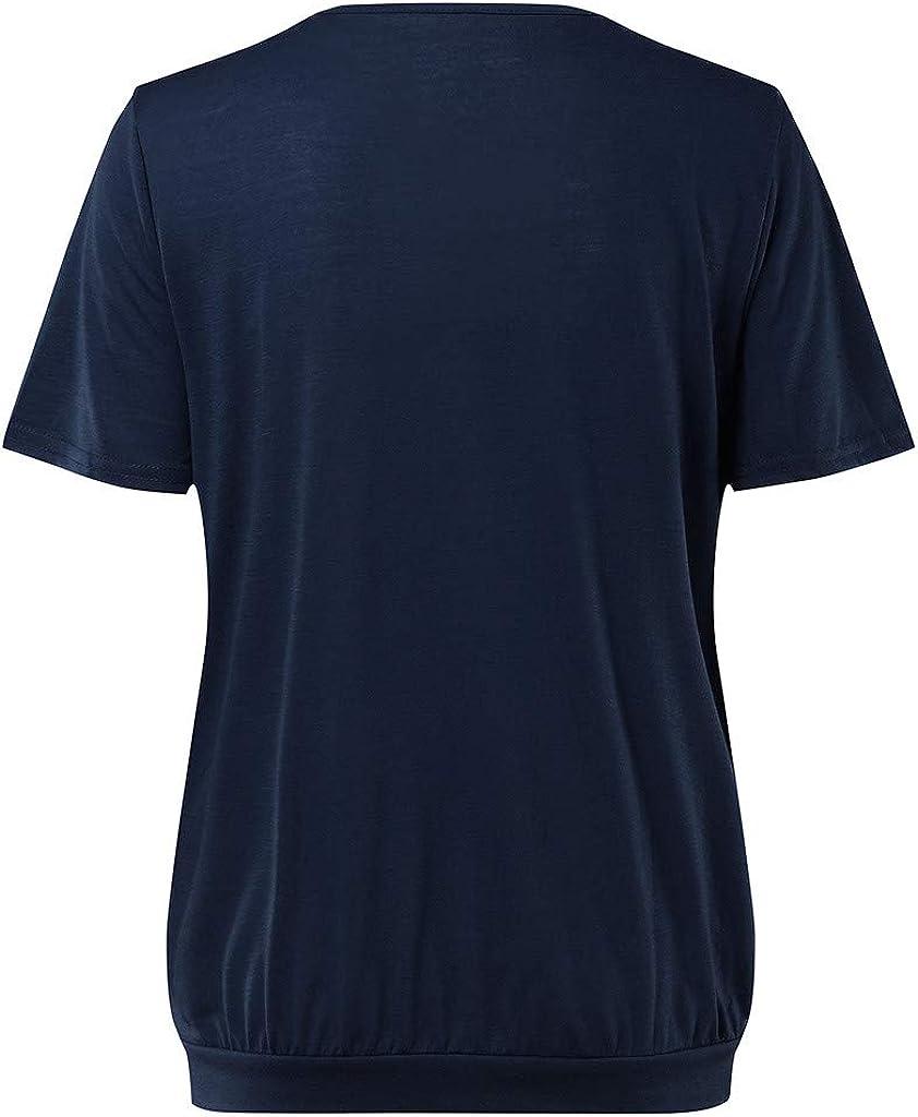 URSING Umstands Tshirt Damen Top Oberteil Schwangere Kurzarm Umstandstop Umstandsmode Baumwolle Schwangerschaft Shirt Doppelschicht Stillnachthemd