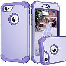 JECCE phone case for Apple iphone 7 case,Shockproof Dual layer Rugged Full-body Anti-Slip Hybrid High Armor Defender Combo Cover, Hard PC Case 4.7 inch 2017 for Women Men Girls Kids All / LightPurple