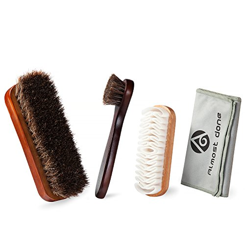 Pack of 4 Shoe Shine Brush cleaning Kit with 100% Soft Horsehair Bristles for Shoes, Shoe Dauber, Creep Wood Brush, Microfiber buffing Cloth for Shoes brushing, Leather cloth, Bags cleaning