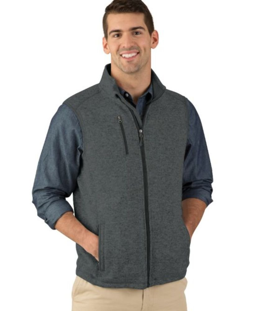 Charles River Apparel Men's Pacific Heathered Sweater Fleece Vest, Charcoal Heather, X-Large by Charles River Apparel