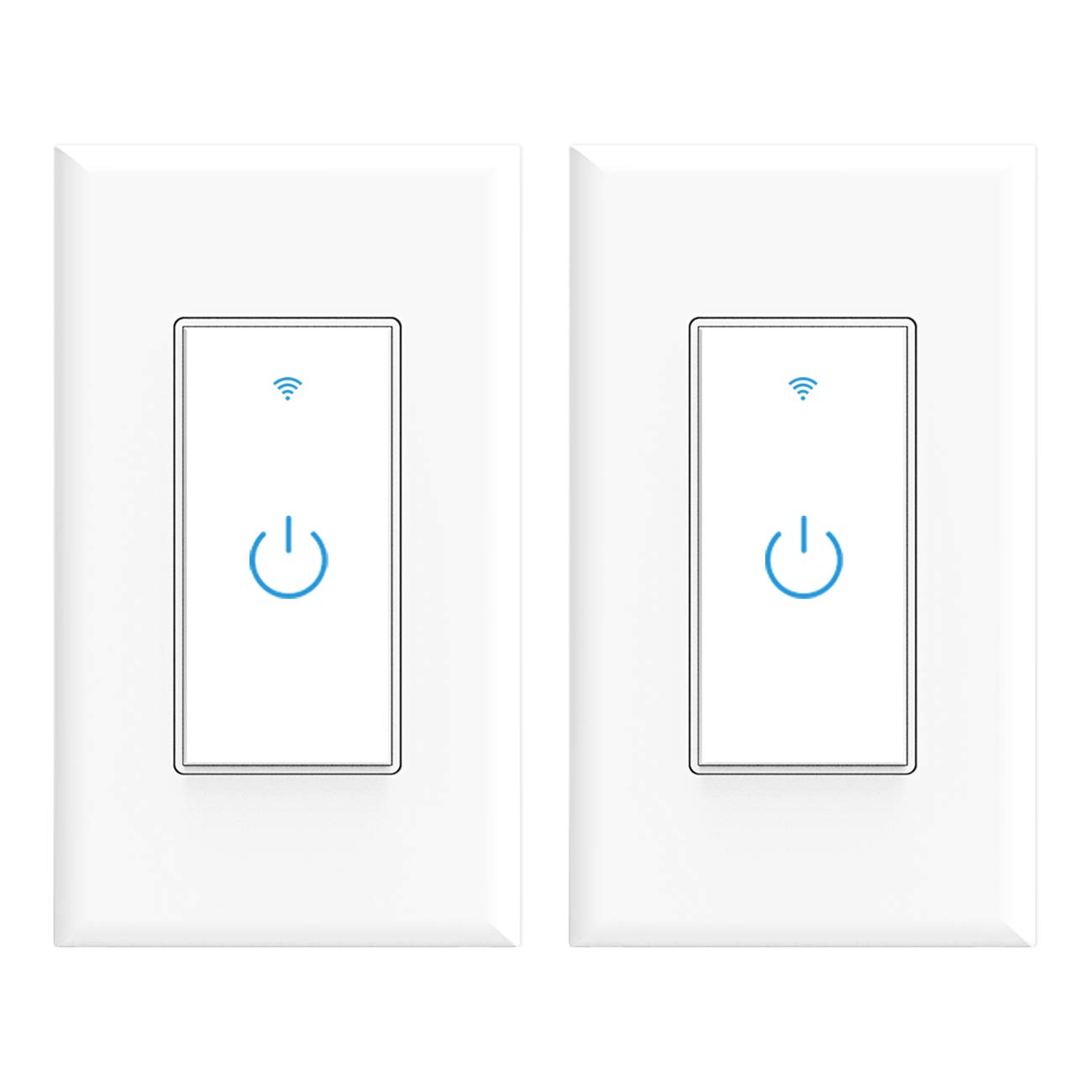 Wifi Smart Switch, Wifi Light Switch 2 Packs, Works with Amazon Alexa and Google Home, App Remote Control with Timing Funtion, No Hub Required (Neutral Wire Required)