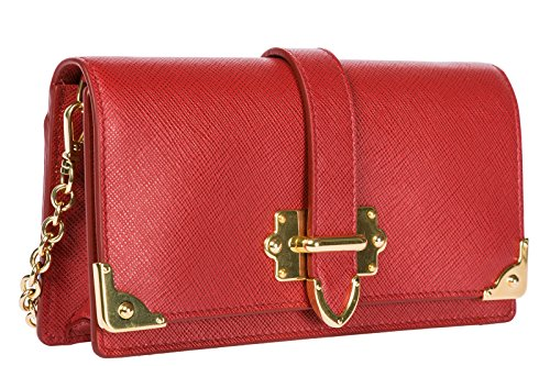 women's Prada porta body shoulder cross messenger leather bag iPhone red BddOFTqw