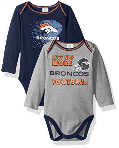 NFL Denver Broncos Boys Long Sleeve Bodysuit (2 Pack), 18 Months, Navy