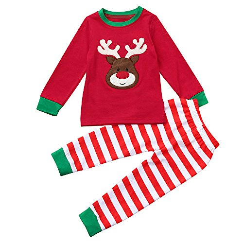 Kids Xmas Pajamas, Toddler Baby Boy Girl Deer Print Long Sleeve Shirt + Pants Christmas Outfit Clothes Set (Red, 2T) -